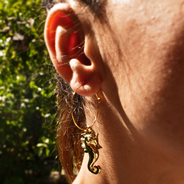 Golden Sea Horse Earrings