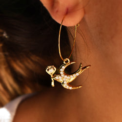Bird With Lucky Key Earrings