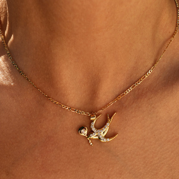 Bird With Lucky Key Necklace