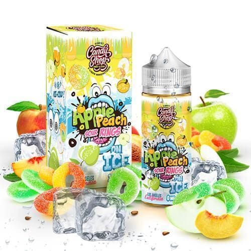 CANDY SHOP ON ICE ELIQUIDS - APPLE PEACH SOUR RINGS ON ICE - 100ML Juice MrVapes Australia