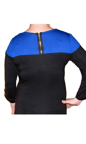 Maternity Top in Blue/Black with Zipper Detail on Back