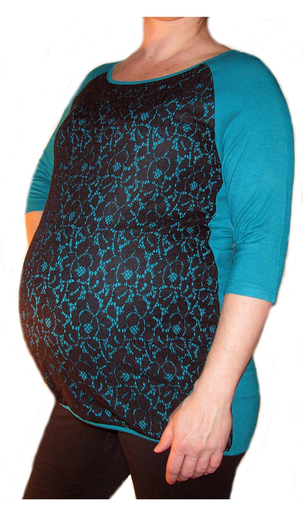 Bellyssima Top w/Lace Overlay Teal