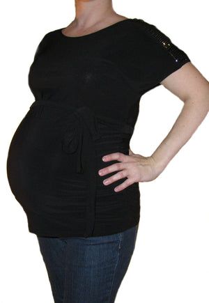 Bellyssima Maternity Top with Sequin Shoulders