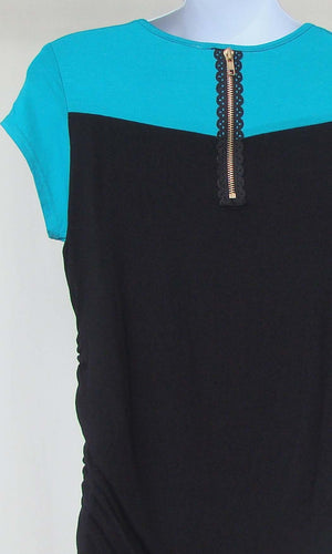 Bellyssima Teal & Black Top with Zipper Detail