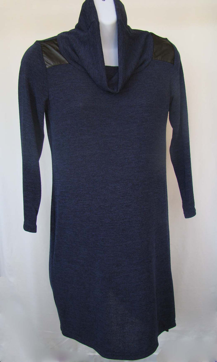 Bellyssima Knit Tunic with Leather Shoulder Detail