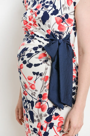 Side Ribbon Cap Sleeve Maternity Dress