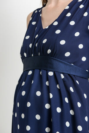 Polka Dot Sleeveless Maternity Dress (Available in Blush or Navy)