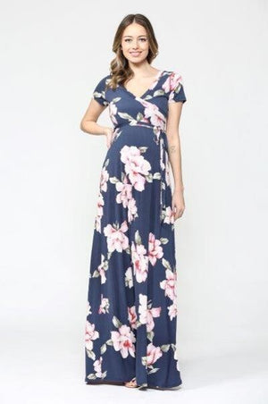 Floral Short Sleeve Maternity/Nursing Maxi Dress