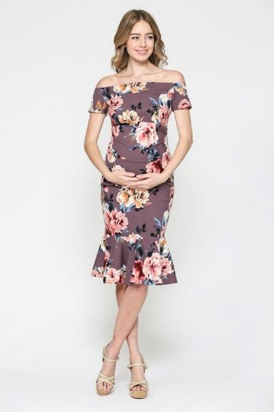 Floral Off Shoulder Maternity Bodycon Dress with Mermaid Hem