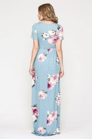 Floral Short Sleeve Maternity/Nursing Maxi Dress with Pockets