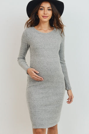 Gray Owl | Sweater Knit Maternity Dress