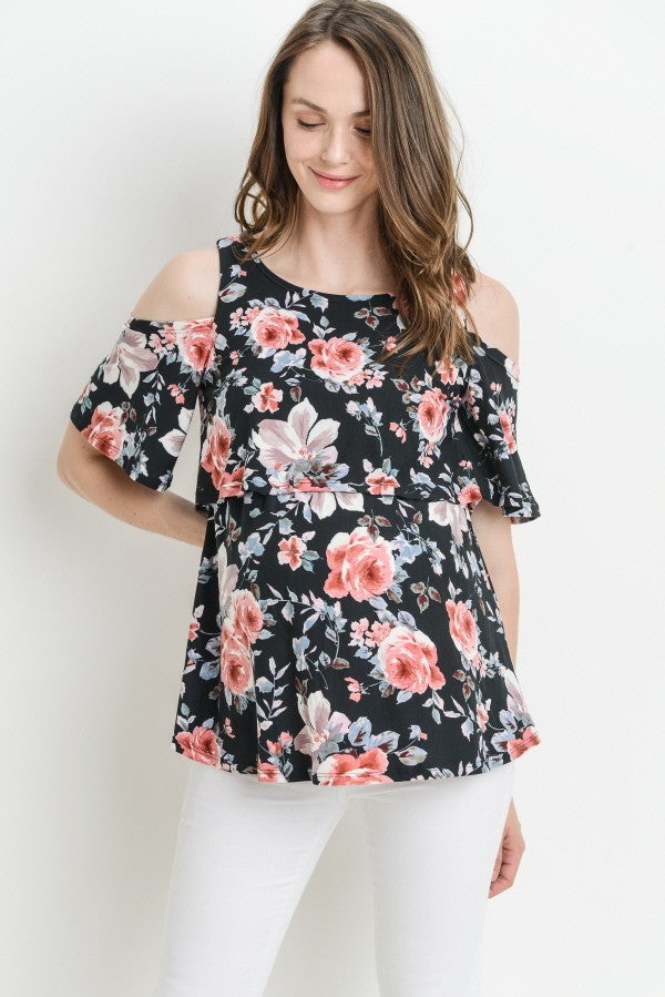 Floral Cold Shoulder Nursing/Maternity Top