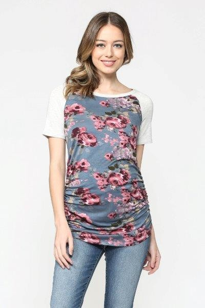 Denim Floral Maternity Baseball Tee