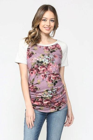 The Willow Baseball Tee - Lavender Floral