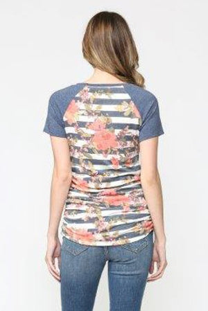 Stripe Floral Maternity Baseball Tee
