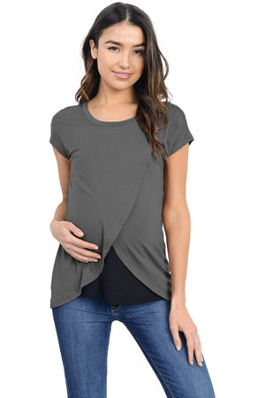 The Tulip Top - Grey & Black