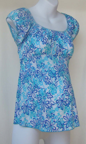Manzana Blue & White Floral Short Sleeve Top