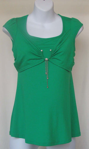 Aria Cap Sleeve Shirt with Jewel Accent