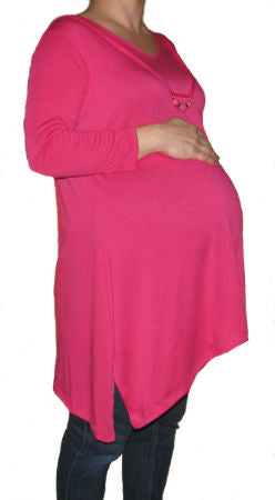 Coqueta Pink Long Sleeve Tunic w/ Bead Detail