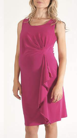 Bellyssima Side Ruffle Dress (Available in Pink or Blue)