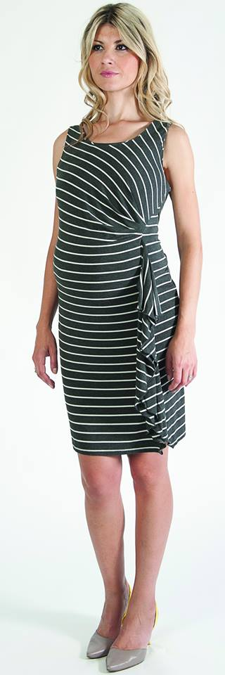 Bellyssima Stripe Side Ruffle Dress