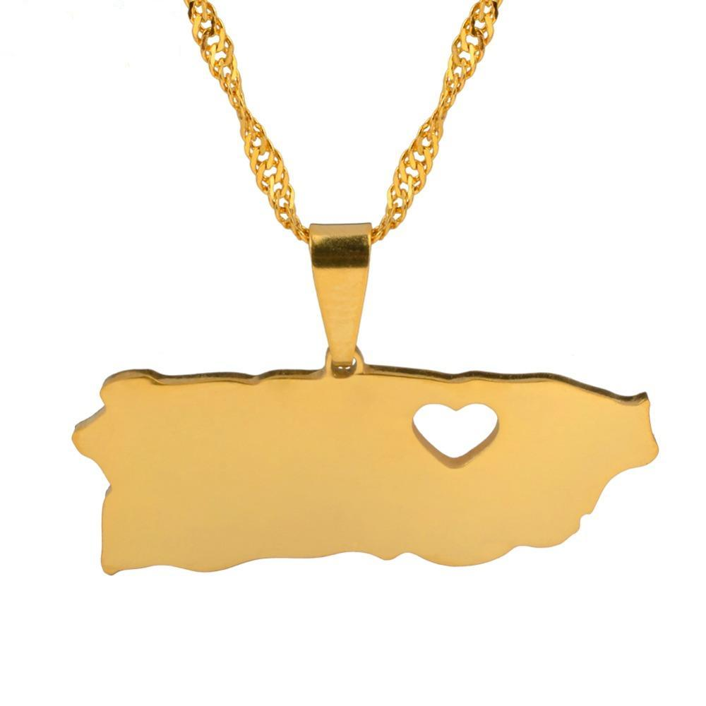 I Heart Puerto Rico Map Necklace - Aesthetic Maps