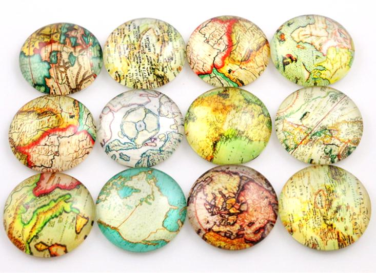 10pc Handmade Photo Glass Cabochons - Aesthetic Maps