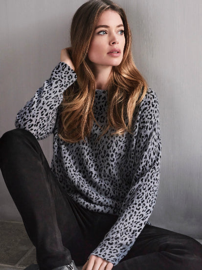 Cashmere Sweater with Leopard Print