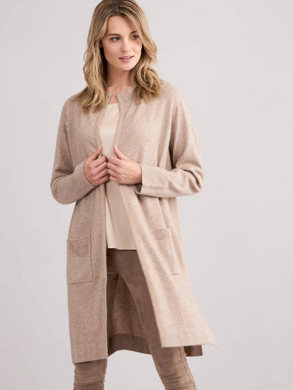 Longline Cardigan with Belt and Suede Leather Details