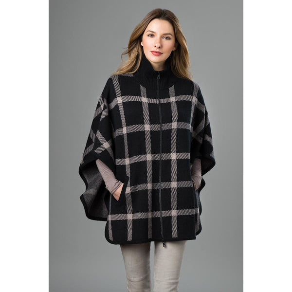 Plaid Zip Mock Poncho