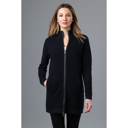 Hi Low Zip Mock Coat