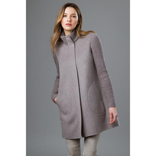 Rib Sleeve Zip Mock Coat