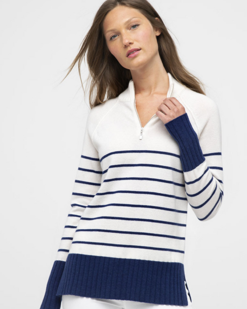 Stripe Quarter Zip Mock