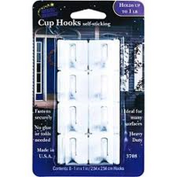 CUP HOOKS Self Sticking (holds up to 1lb) 8PK