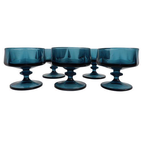Blue Champagne Sherbet Glasses: Set of 6