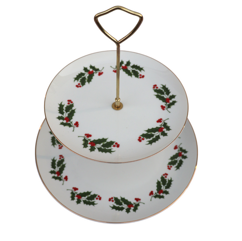 Christmas Holly Branch Tiered Serving Platter