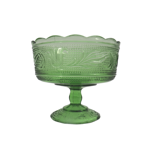 Green Glass Pedestal Compote