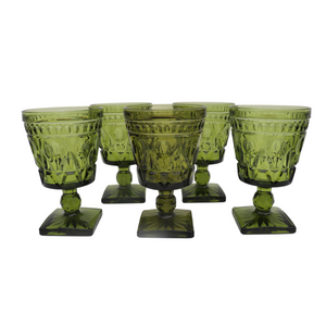 Indiana Glass Tall Green Water Goblets: Set of 6