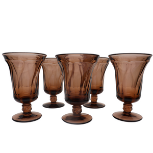 Fostoria Smoked Wood Water Goblets: Set of 8