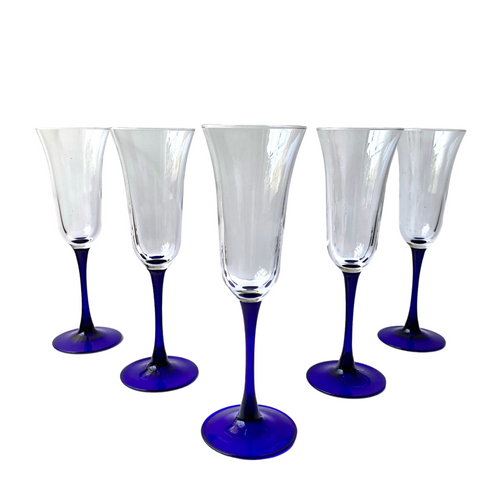 Cobalt Blue Stem Fluted Champagne Glasses: Set of 6