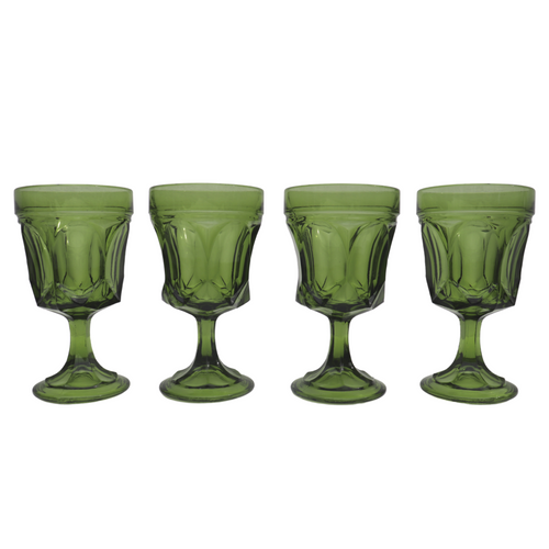 Anchor Hocking Green Wine Glasses: Set of 6