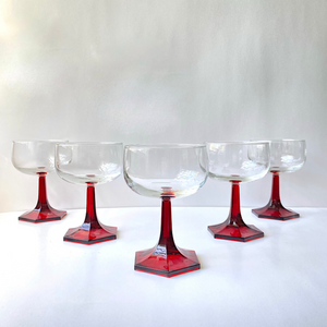 Ruby Red Stem Wine Glasses: Set of 6