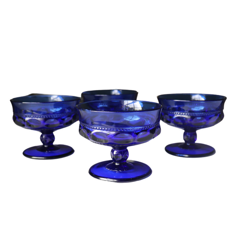 Kings Crown Cobalt Blue Coupe Sherbet Dish: Set of 4