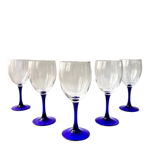 Cobalt Blue Stem Fluted Wine Glasses: Set of 8