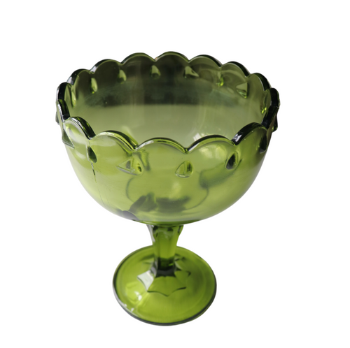 Indiana Glass Teardrop Olive Green Compote: Set of 2