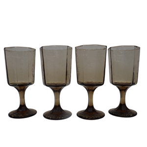 Mid Century Smoked Wood Water Goblets: Set of 4