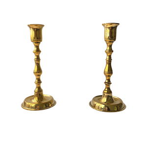 Brass Candlestick Holder: Set of 2