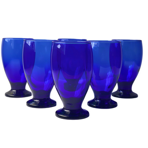 Cobalt Blue Mini Glass Footed Goblets: Set of 6
