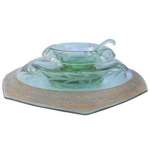 Depression Glass Caviar & Mayonnaise Bowl with Under plate & Ladle, Hexagon Shape, 3 Pc Set
