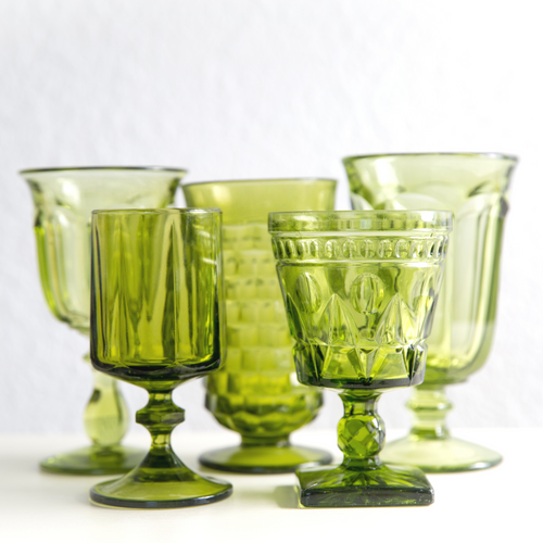 Mixed Green Water Goblets: Set of 6